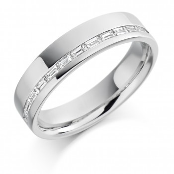 18ct White Gold Baguette Diamond Offset Wedding Ring