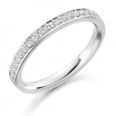 18ct White Gold Diamond Grain set Channel Wedding Ring