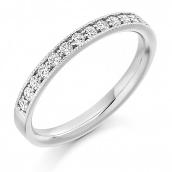 18ct White Gold Diamond Millegrain Wedding Ring