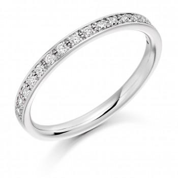 18ct White Gold Diamond Grain Set Wedding Ring