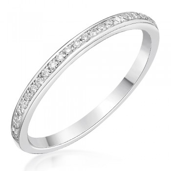 18ct White Gold .10ct Diamond Grain set Wedding / Eternity Ring
