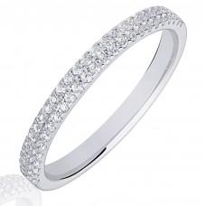18ct White Gold Double Row Diamond Wedding Ring