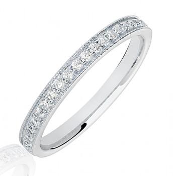 18ct White Gold .20ct Diamond Micro Claw set Wedding Ring