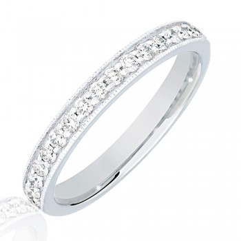 18ct White Gold .33ct Diamond Micro Claw Set Wedding Ring
