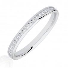 18ct White Gold .25ct Princess cut Diamond Wedding Ring