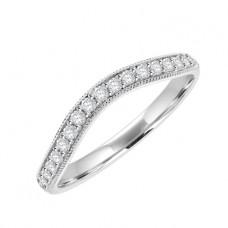 18ct White Gold Diamond Grain Set Bow Shaped Wedding Ring