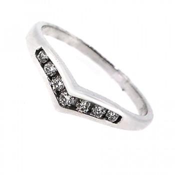 18ct White Gold Diamond Wishbone Wedding/Eternity Ring