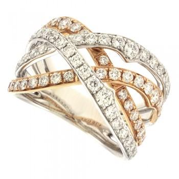 18ct Rose & Whte Gold Diamond Weaved Eternity Ring