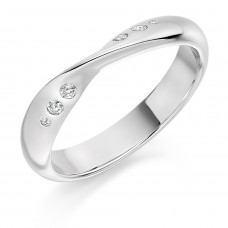 18ct White Gold Diamond Set Twist Wedding Ring