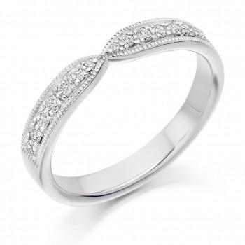 18ct White Gold Diamond Bow Shaped Millegrain Wedding Ring