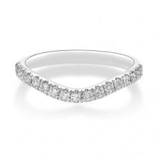 18ct White Gold Wishbone .22ct Diamond Castle Wedding Ring