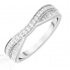 18ct White Gold .25ct Diamond Brilliant & Baguette Overlap Ring