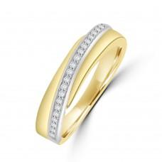 9ct Yellow & White Gold Diamond Crossover Band