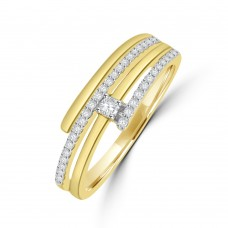 9ct Gold Solitaire Diamond Wrap-around Ring