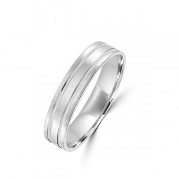 Platinum 5mm Satin Flat Wedding Ring