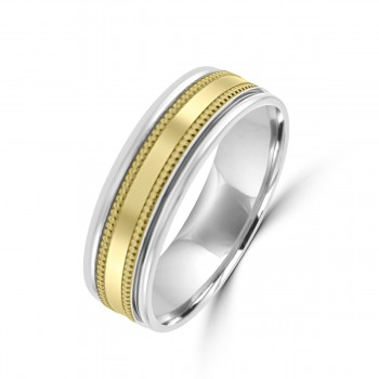 Palladium 950 / 9ct Yellow Gold 6mm Wedding Ring