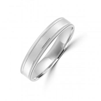 Platinum 4mm Lined Flat Court Wedding Ring