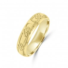 18ct Yellow Gold Knott Engraved 5mm Wedding Ring