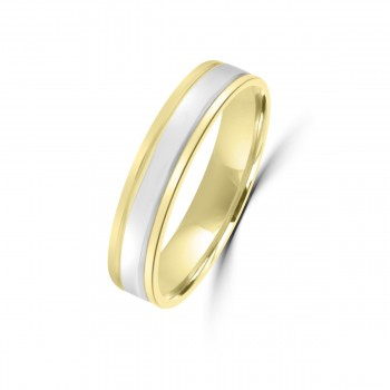 18ct Yellow/White Gold 4mm Wedding Ring