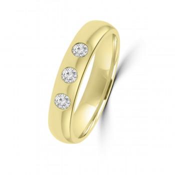 !8ct Yellow gold Three Stone 4mm Wedding Ring