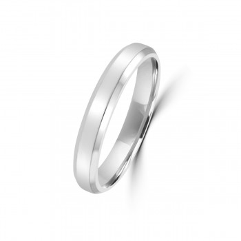 18ct White Gold Bevelled Edge 3mm Wedding Ring