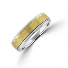 Palladium 6mm Wedding Ring with Brushed 9ct Gold Sleeve