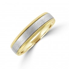 9ct Yellow Gold Wedding Ring with White Gold Sleeve
