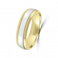 9ct Yellow / White Gold 6mm Wedding Ring