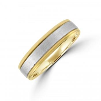 9ct Gold 6mm Court Wedding Ring with Brushed Palladium Sleeve