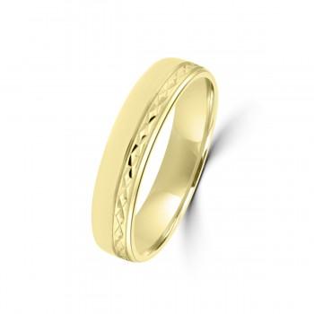 9ct Yellow Gold Diam ond Cut 5m Weddig Ring