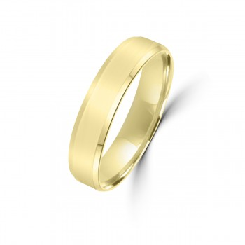 9ct Yellow Gold 5mm Bevelled Edge Wedding Ring