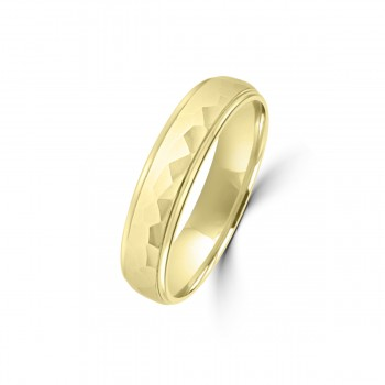 9ct Yellow Gold Hammered 5mm Wedding Ring