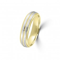 9ct Yellow/White Gold Lined 5mm Wedding Ring
