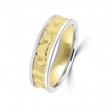 9ct Yellow/White Claddagh Wedding Ring