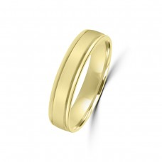 9ct Yellow Gold 4mm Lined Wedding Ring