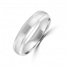 9ct White Gold 5mm Plain Satin Wedding Ring