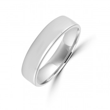 9ct White Gold Plain 5mm Wedding Ring