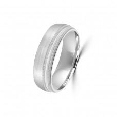 9ct White Gold 6mm Satin Beaded Edge Wedding Ring
