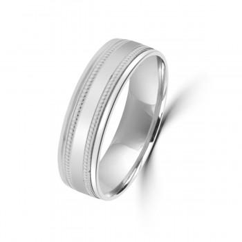 9ct White Gold 6mm Milgrain Lined Wedding Ring