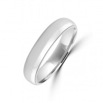 9ct White Gold 5mm Plain Wedding Ring