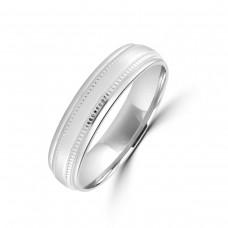9ct White Gold 5mm Beaded Edge Wedding Ring