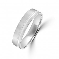 9ct White Gold 5mm Offset Wedding Ring