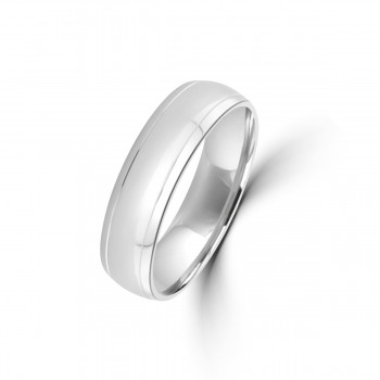 9ct White Gold 6mm Lined Wedding Ring
