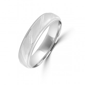 9ct White Gold 5mm Diagonal Lined Wedding Ring