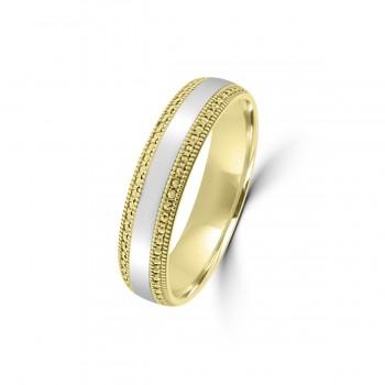 9ct Yellow/White Gold 5mm  Beaded Edge Wedding Ring