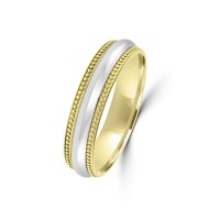 9ct Yellow / White Gold 5mm Milgrain Wedding Ring