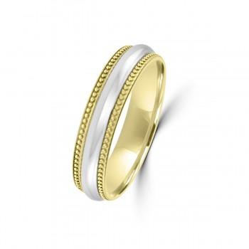 9ct Yellow / White Gold 5mm Milgrain Wedding Ring