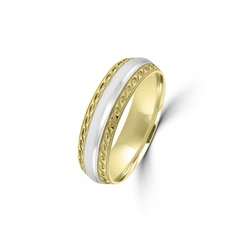 9ct Yellow/White Gold 6mm Beaded Edge Wedding Ring