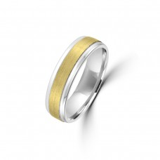9ct Yellow/White Gold 6mm Plain Satin Wedding Ring