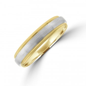 9ct Gold 5mm Wedding Ring with Brushed Palladium centre
